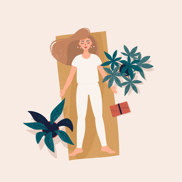 Vector illustration of a blonde woman doing yoga in shavasana pose on the rug surrounded potted plants and a book. Lying woman in flat style