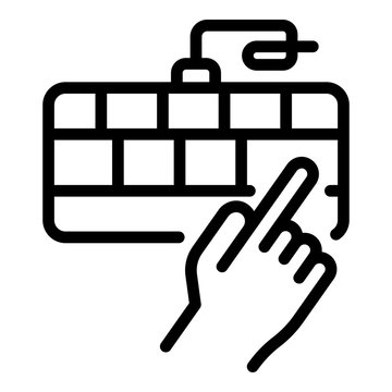 Hand and keyboard icon. Outline hand and keyboard vector icon for web design isolated on white background