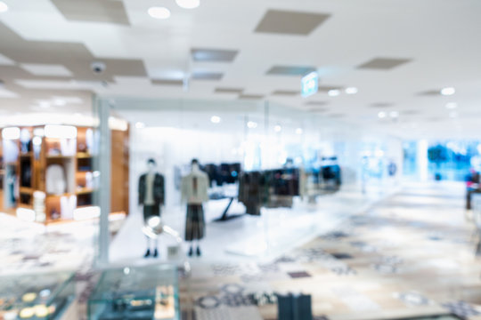 Defocused Image Of Retail Store In Shopping Mall