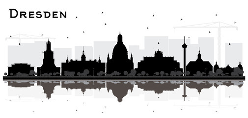 Wall Mural - Dresden Germany City Skyline Silhouette with Black Buildings and Reflections Isolated on White.