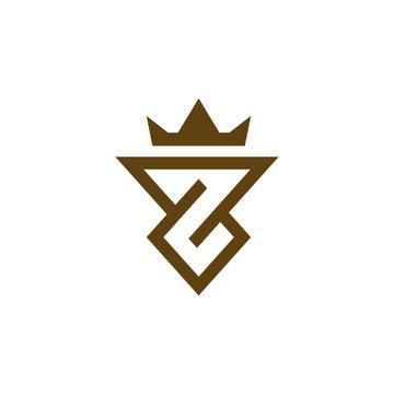 Initial z crown gold logo