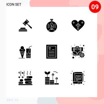 Set of 9 Vector Solid Glyphs on Grid for reader, ebook, love, juice, ice cream