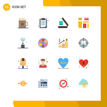 Mobile Interface Flat Color Set of 16 Pictograms of gems, native, education, feature, advertising