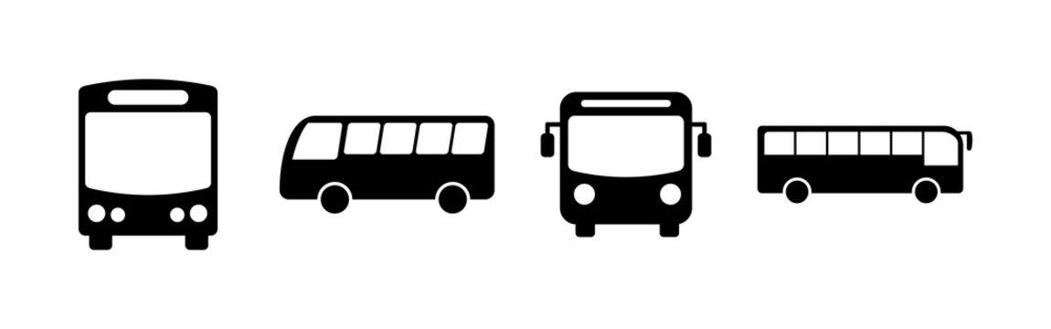 Bus Icons set. Bus vector icon. Public transport symbol.