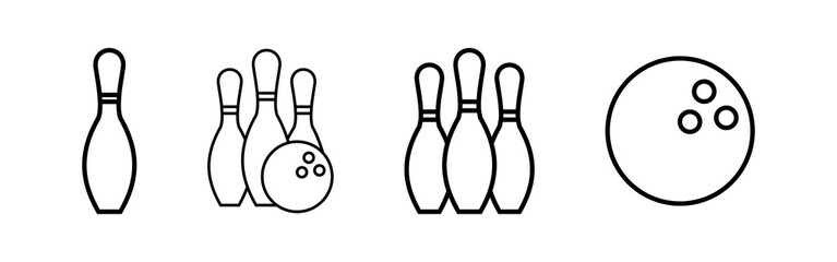 Bowling game Pin Icons set. Bowling icon, ball and pin
