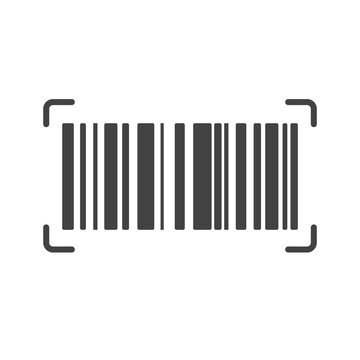 Barcode Icon. Almost black barcode for scanning to check product prices Isolated on white background.