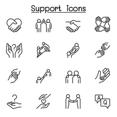 Care, support and sympathize icon set in thin line style