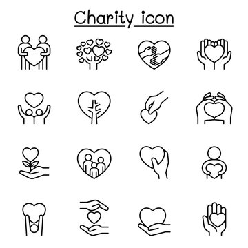 Set of Donation & Charity related vector line icons. contains such Icons as kindness, fundraiser, volunteer, support, heart, helping, care, give, hope, friendship, hug, protect and more.