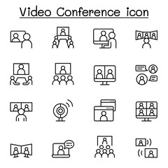 Set of Video conference line Icons. Contains such Icons as online meeting, business communication, team, classroom, online education, prVector illustration graphic design