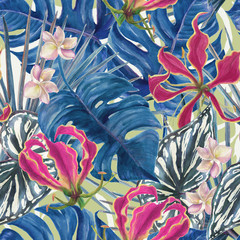 Fotobehang Paradijsvogel Watercolor seamless tropical pattern with exotic flowers and plants, orchid. Palm and deliciosa leaves.