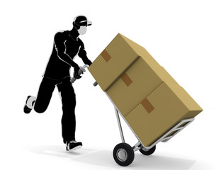 Deliver the package. A running person. Work in delivery. 3D rendering