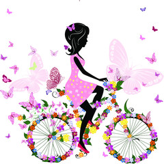 Poster Floral woman vector illustration of a girl with flowers