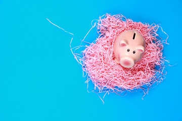 Directly Above Shot Of Piggy Bank On Shredded Papers Over Blue Background