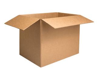 Open corrugated carton box isolated on white background. Kraft box with open lid mockup