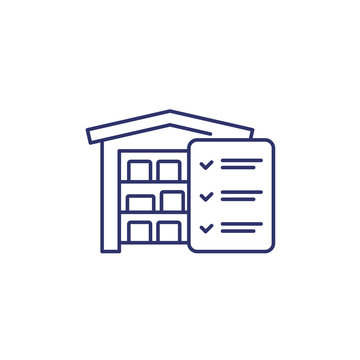 inventory, warehouse and logistics line icon