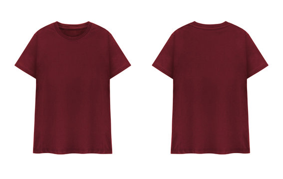 Maroon T-shirt front and back on white background. Red T-shirts