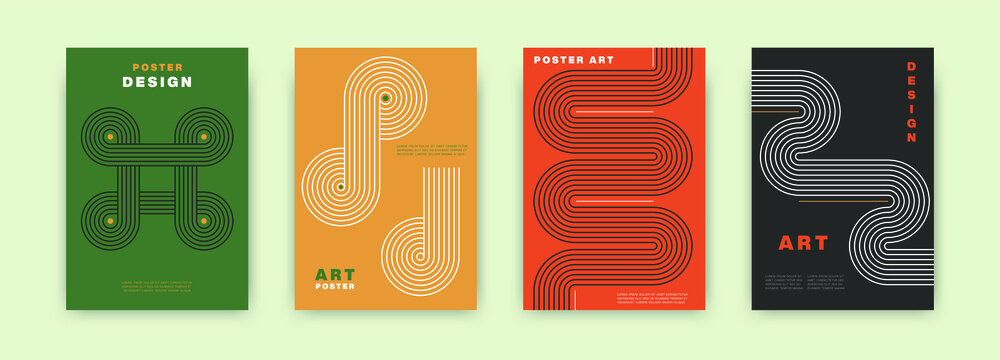 Abstract modernism poster design. Vintage cover set swiss memphis style. Retro vector geometric art illustration for journal, books, flyers, magazines