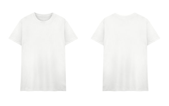 White T-shirt front and back on white background.