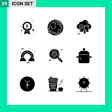 Set of 9 Vector Solid Glyphs on Grid for colorful, celebrate, geography, computing, up