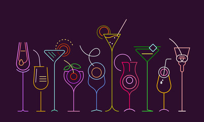 Foto op Aluminium Abstractie Art Neon colors isolated on a dark purple background Cocktails vector illustration. A row of ten different cocktail glasses.