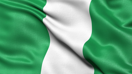 3D illustration of the flag of Nigeria waving in the wind.