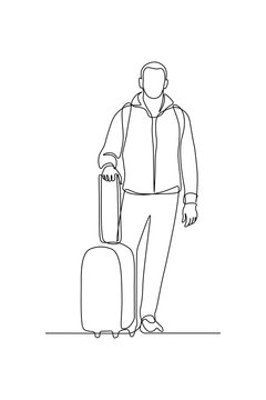 Man with luggage in continuous line art drawing style. Tourist in casual clothes with suitcase and backpack ready for traveling black linear sketch isolated on white background. Vector illustration