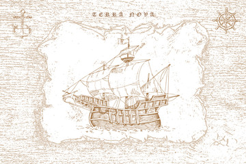 vector image of a vintage caravel in old engraving style