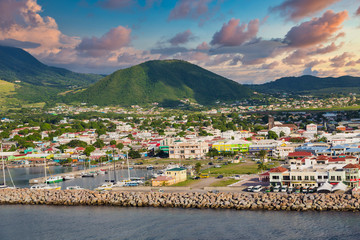 Fototapete - Colorful St Kitts twon in the Caribbean