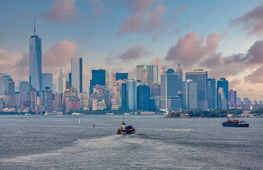 Fototapete - Freighters and barges in New York Harbor