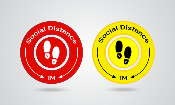 Social Distancing Signage For Floor Sticker reduce the risk of catching Covid-19 Vector sign.