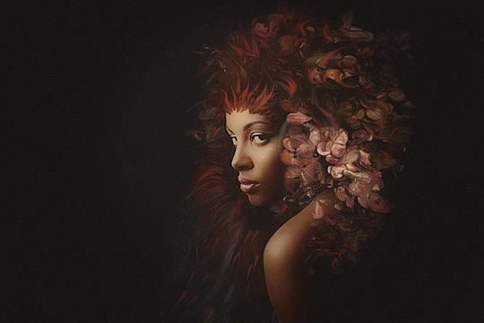 young black woman fantasy portrait composite photo