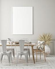 mock up poster frame in modern interior background, dinning room, Scandinavian style, 3D render, 3D illustration