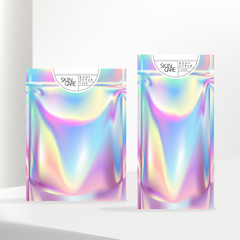 Vector Holographic or Iridescent Neon Zipper Pouch or Sachet with White Label