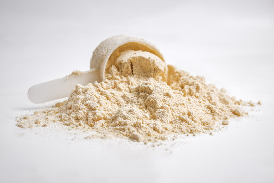 whey protein on white