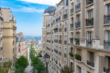 Paris, Montmartre, typical buildings and staircase, romantic view