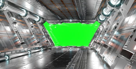 Fototapete - White and silver futuristic spaceship interior with green window 3d rendering