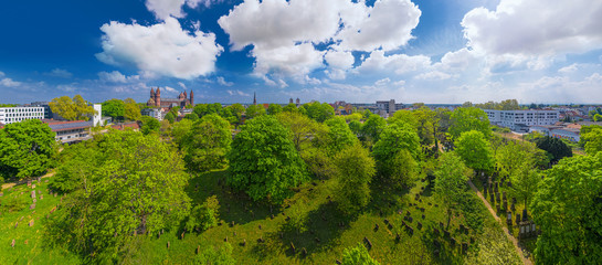 World Cultural Heritage Jewish Cemetery Heiliger Sand in Worms, Germany, 360° Skypano aerial