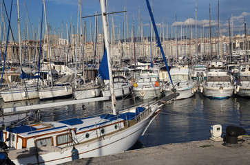 Yachts and sailboats in the old port of Marseille, France