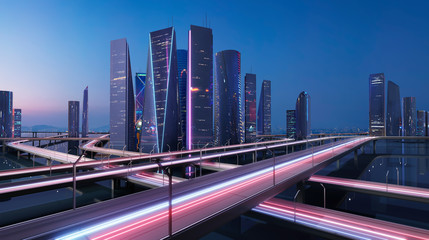 Fotomurales - 3D rendering beautiful modern virtual cityscape