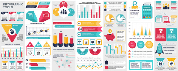 Bundle infographic UI, UX, KIT elements with charts, diagrams, workflow, flowchart, timeline, online statistics, marketing icons elements design template. Vector info graphics and infographics set. Wall mural