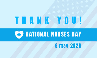 National Nurses Day text on US flag background. Holiday concept. Background, banner, card, poster with text inscription. Vector EPS-10 Fotomurales