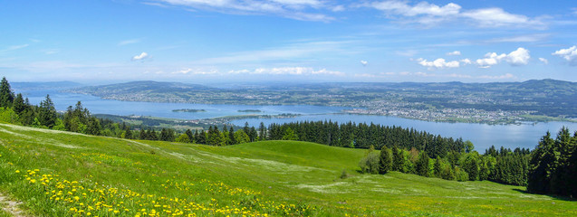 Panorama Zürichssee und Zürich vom Stöcklirüz aus mit Bergwiese