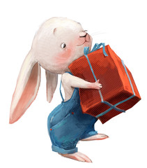 cute little white cartoon hare with pants