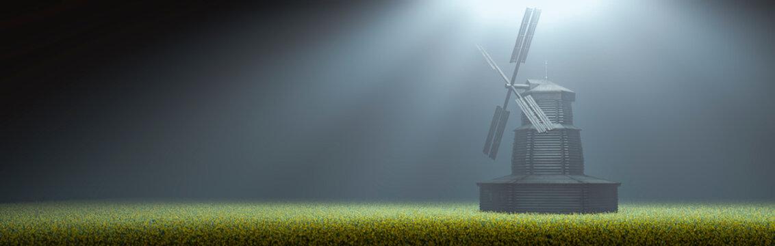 dutch windmill in tulip field