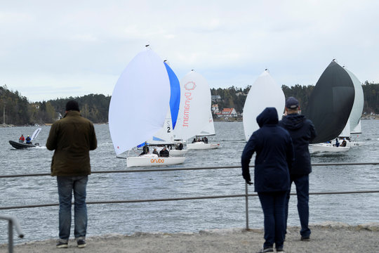 J70 sailing boats are seen on their way back after sailing competition at Saltsjobaden, Stockholm