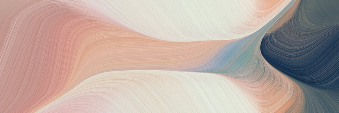 abstract moving designed horizontal header with silver, dark slate gray and tan colors. fluid curved lines with dynamic flowing waves and curves
