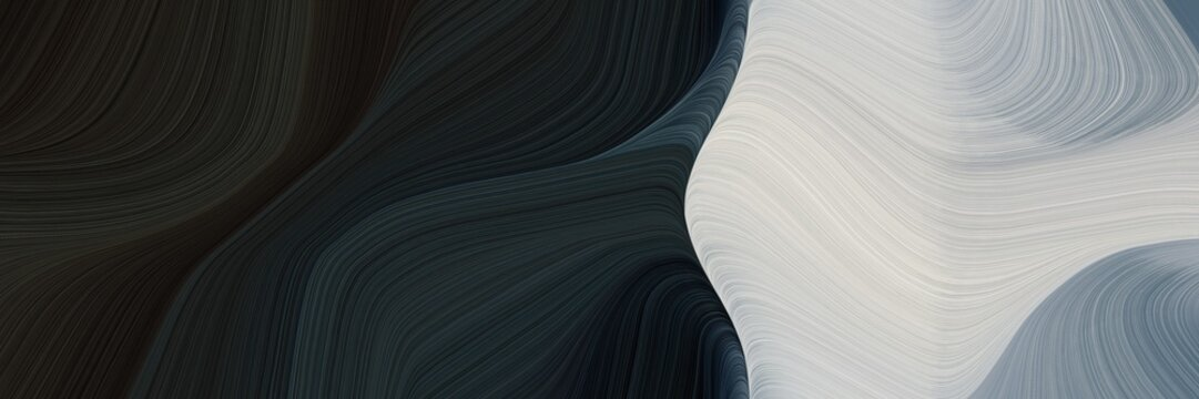 abstract flowing designed horizontal banner with very dark blue, silver and light slate gray colors. fluid curved lines with dynamic flowing waves and curves