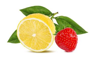 Fototapete - lemon,mint and strawberry. isolated on white background