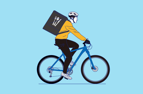 Man delivering food by bicycle , vector illustration