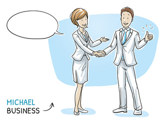Happy young man in business clothes showing thumb up and shaking hands with a business woman. Hand drawn cartoon sketch vector illustration, whiteboard marker style coloring.